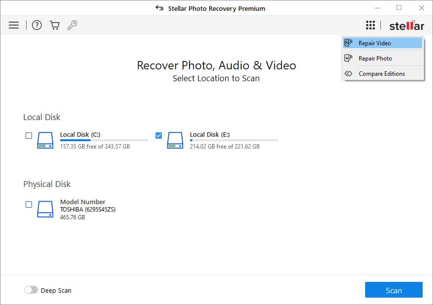 Stellar Photo Recovery Premium Windows full screenshot