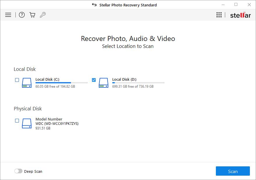 Stellar Photo Recovery Standard Windows full screenshot