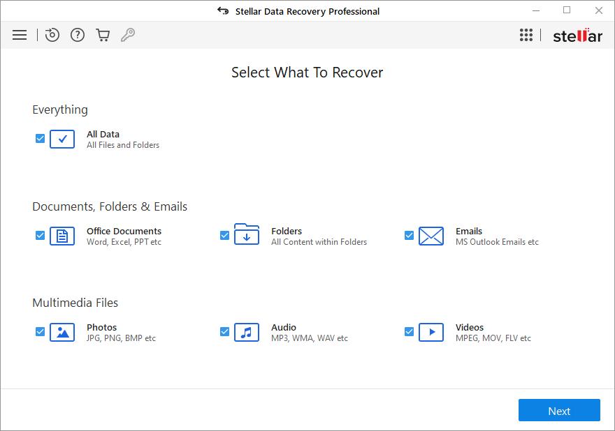 Stellar Data Recovery Professional full screenshot